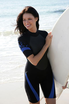 surfer girl wearing shortie wet suit